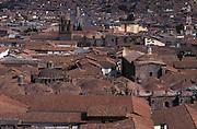 Terracotta tiled roofs of Cuzco.Cuzco department, Peru