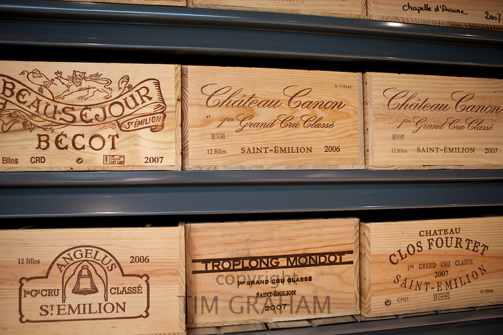 Fine wines Chateau Canon, Chateau Angelus, Chateau Fourtet, Chateau Beausejour Becot, Troplong Mondot at Vignobles et Chateaux wine merchant in St Emilion, Bordeaux, France