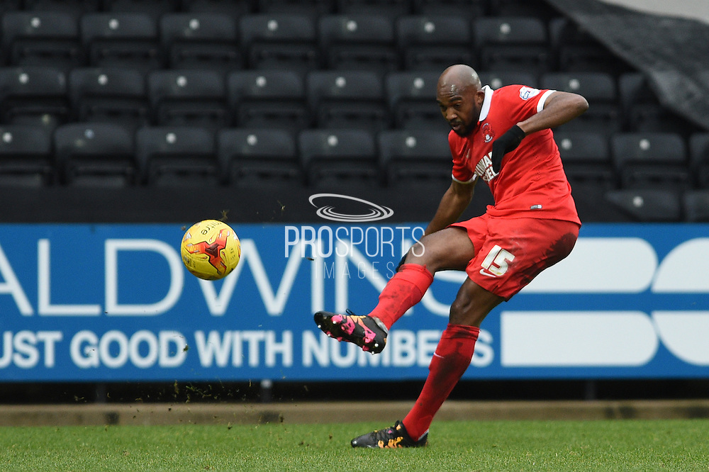 Leyton Orient midfielder Nigel Atangana crosses the ball during the Sky Bet League 2 match between Notts County and Leyton Orient at Meadow Lane, Nottingham, England on 20 February 2016. Photo by Jon Hobley.