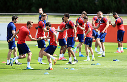England players including Harry Kane and Adam Lallana (front) during the training session at Stade Omnisport.
