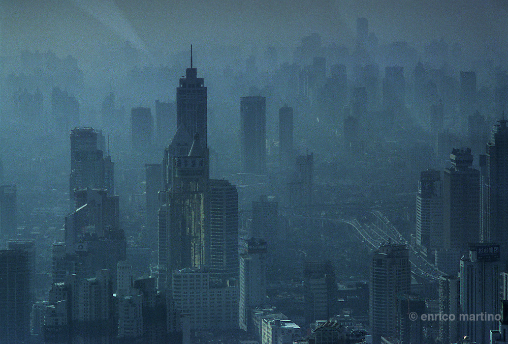 Pudong New Area, Shangahi pollution view from Jinmao Tower, one of the world highest buildings.