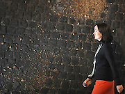 © Licensed to London News Pictures. 11/11/2011. London, UK. A woman walks in front of Mark Boyle's Study of Red Cobbles with Broken Slate, Red Causeway series 1975. It is estimated to fetch 20,000 to 30,000 GBP. Sotheby's preview of Modern and Post-War British Art which will offered for sale at auction on 15th November 2011. Photo credit : Stephen Simpson/LNP