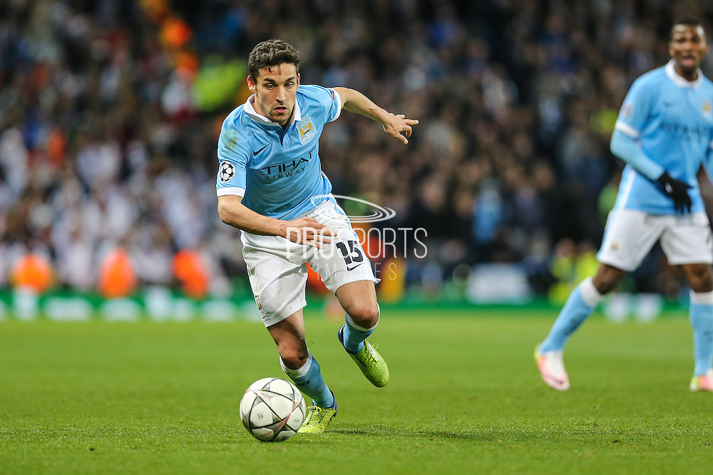 Manchester City's Jesús Navas on the ball during the Champions League match between Manchester City and Real Madrid at the Etihad Stadium, Manchester, England on 26 April 2016. Photo by Shane Healey.