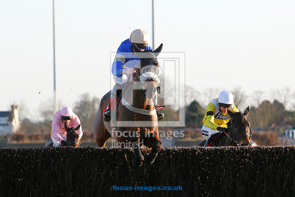 Tom Cannon riding Ballyheigue Boy winning the Watch On Racing UK App Handicap Chase at Kempton Park, Sunbury<br /> Picture by John Hoy/Focus Images Ltd +44 7516660607<br /> 06/02/2015