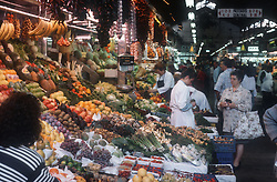 Fruit and vegetable stall in La Boqueria Market in Barcelona,