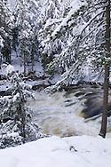 The Dead River in winter near Marquette Michigan.