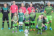 Officials, captains and mascots during the EFL Sky Bet League 2 match between Forest Green Rovers and Plymouth Argyle at the New Lawn, Forest Green, United Kingdom on 16 November 2019.