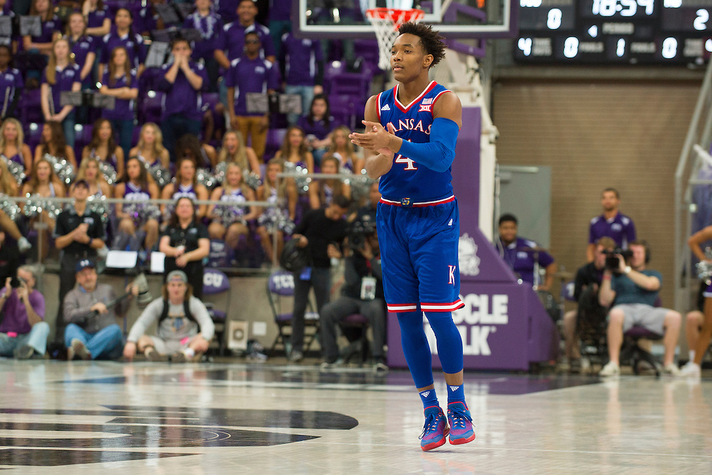 FORT WORTH, TX - FEBRUARY 6: Devonte' Graham #4 of the Kansas Jayhawks looks on against the TCU Horned Frogs on February 6, 2016 at the Ed and Rae Schollmaier Arena in Fort Worth, Texas.  (Photo by Cooper Neill/Getty Images) *** Local Caption *** Devonte' Graham
