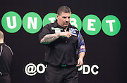 Gary Anderson (England)  wins a leg during the 2015 Unibet Masters at the Arena MK, Milton Keynes, United Kingdom on 1 February 2015. Photo by Phil Duncan.