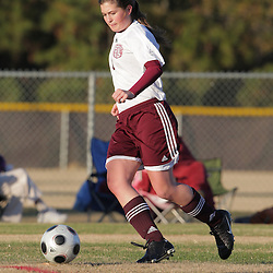 2 December 2008: St. Thomas Aquinas  Emily McAfee (#4) during the St. Thomas Lady Falcons 5-2 loss to Country Day in a non-district soccer match at Falcons Soccer Field in Hammond, LA.
