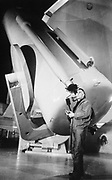 Edwin Powell Hubble (1899-1953) American astronomer who discovered 'red shift'. Hubble Constant for expansion of the universe. Hubble in the observatory. Courtesy Astronomical Society of the Pacific