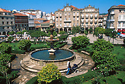 SPAIN, GALICIA Pontevedra, the Plaza de la Herreria with gardens and fountains in the heart of the old city