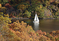 Fort Montgomery, NY - A sailboat heads south on the Hudson River on Nov. 2, 2008.