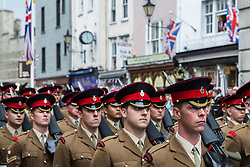 Windsor, UK. 18 May, 2019. The Household Cavalry exercise their right to a Freedom of Entry March through Windsor comprising up to 250 marching troops, 8 mounted troops, the Band of the Household Cavalry and veterans by way of a farewell to the town where they have been based for over 200 years in advance of their relocation to Salisbury Plain later this year.