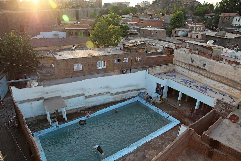 A swimming pool in Diyarbakirs old town, eastern Turkey.