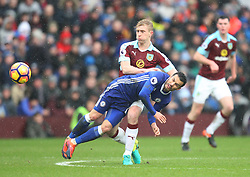 Ben Mee of Burnley (Top) and Pedro of Chelsea in action - Mandatory by-line: Jack Phillips/JMP - 12/02/2017 - FOOTBALL - Turf Moor - Burnley, England - Burnley v Chelsea - Premier League