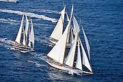 "France Saint - Tropez October 2013, Classic yachts racing at the Voiles de Saint - Tropez<br /> <br /> C,/241,ASCHANTI ,35,GOELETTE MARCONI/1954,HENRI GRUBER<br /> <br /> C,A9,ELENA OF LONDON,""50,8"",GOELETTE AURIQUE/2009,HERRESHOFF"