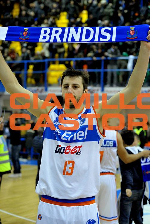 DESCRIZIONE : Brindisi Lega A 2012-13 Enel Brindisi Juve Caserta<br /> GIOCATORE : Klaudio Ndoja<br /> CATEGORIA : Esultanza<br /> SQUADRA : Enel Brindisi <br /> EVENTO : Campionato Lega A 2012-2013 <br /> GARA : Enel Brindisi Juve Caserta<br /> DATA : 09/12/2012<br /> SPORT : Pallacanestro <br /> AUTORE : Agenzia Ciamillo-Castoria/V.Tasco<br /> Galleria : Lega Basket A 2012-2013  <br /> Fotonotizia : Brindisi Lega A 2012-13 Enel Brindisi Juve Caserta<br /> Predefinita :