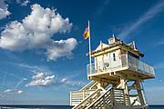 The lifeguards tower along Flagler Avenue Boardwalk in New Smyrna Beach, Florida.