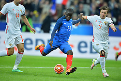 29.03.2016, Stade de France, St. Denis, FRA, Testspiel, Frankreich vs Russland, im Bild kante n'golo, kuzmin oleg // during the International Friendly Football Match between France and Russia at the Stade de France in St. Denis, France on 2016/03/29. EXPA Pictures © 2016, PhotoCredit: EXPA/ Pressesports/ LAHALLE PIERRE<br /> <br /> *****ATTENTION - for AUT, SLO, CRO, SRB, BIH, MAZ, POL only*****