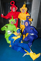 The Hubs, Hallam Union, Paternoster Row plays host to Sheffield's biggest Fancy Dress Ball. More than 900 people in fancy dress to raise money for Cancer Research on Saturday night .Tellytubbies  Joe France, Andy Woods, Lee Borgon, Kevin Ford with Bananaman Danny State...6 April  2013.Image © Paul David Drabble