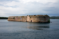 Built in the 16th century, St.Nicholas Fortress, Sibenik, Croatia as seen from harbour approach. It is considered to be one of the best examples of defense architecture in the Adriatic and is preserved as a UNESCO World Heritage site.