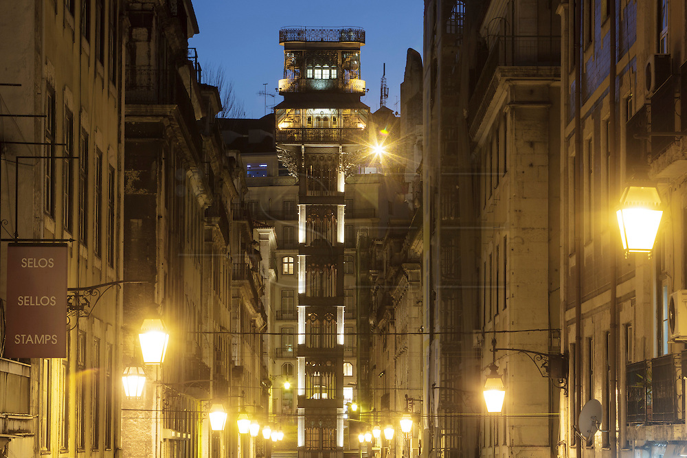 Santa Justa lift in Lisbon. The lift is build in steel and was projected by french engenier Raoul Mesnier du Ponsard and inaugurated in 1902.