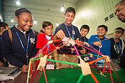 Eighth graders at The Rice School build geodesic domes during a competition presented by Great Minds in STEM sponsored by the U.S. Army Corps of Engineers, Galveston District, September 20, 2013.