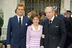 Left to right, the HON.LEANDER WARD and his parents the EARL & COUNTESS OF DUDLEY, at a memorial service in London on 15th July 1998.MJC 43