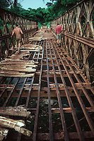 A dilapidated bridge in the Democratic Republic of Congo, central Africa.