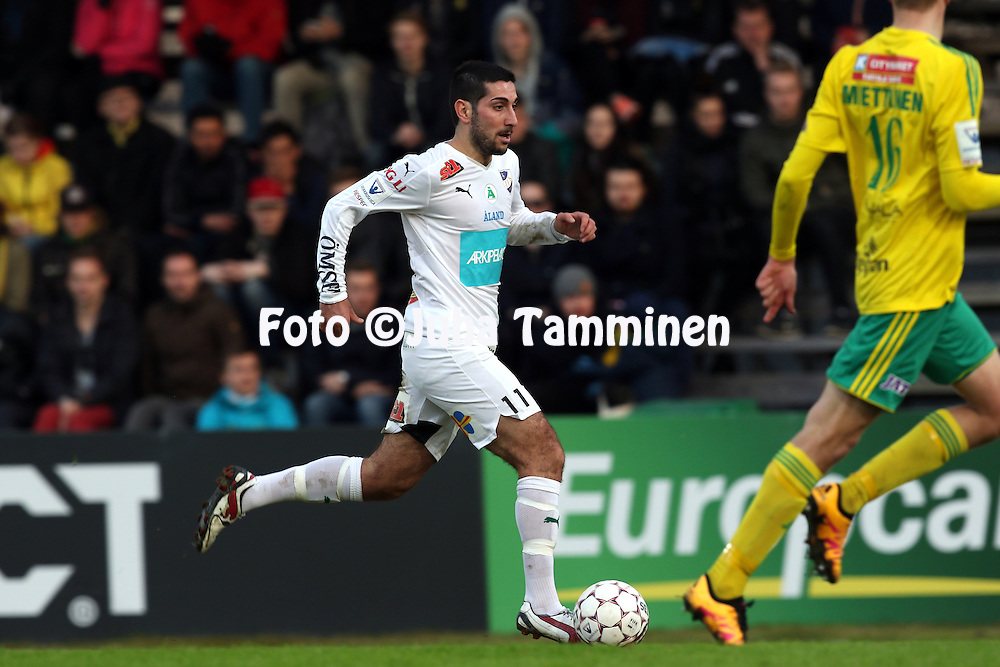29.4.2016, Tammelan stadion, Tampere.<br /> Veikkausliiga 2016.<br /> Ilves - IFK Mariehamn.<br /> Josef Ibrahim - IFK Mhamn