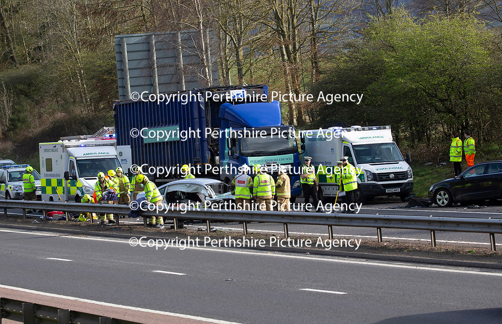 Police, Firefighters and Paramedics at work on the M90 motorway just south of Perth after a road traffic collision involving numerous cars and a lorry happened at approximately 1.50pm Wednesday 20.03.19.<br />Injuries are unknown<br />Picture by Graeme Hart.<br />Copyright Perthshire Picture Agency<br />Tel: 01738 623350  Mobile: 07990 594431
