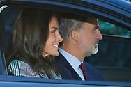 King Felipe VI of Spain, Queen Letizia of Spain arrive at the 'Santa Maria de los Rosales' school on the first day of schoo on September 11, 2019 in Madrid, Spain