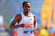Kenenisa Bekele (ETH) places sixth in 2:08:53 in the London Marathon in London, Sunday, April 22, 2018. (Jiro Mochizuki/Image of Sport)