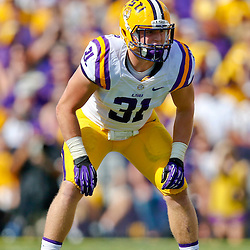 Oct 12, 2013; Baton Rouge, LA, USA; LSU Tigers linebacker D.J. Welter (31) against the Florida Gators during the first quarter of a game at Tiger Stadium. Mandatory Credit: Derick E. Hingle-USA TODAY Sports