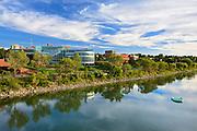 Reflection od Medicine Hat skyline along the South Saskatchewan River<br /> Medicine Hat<br /> Alberta<br /> Canada