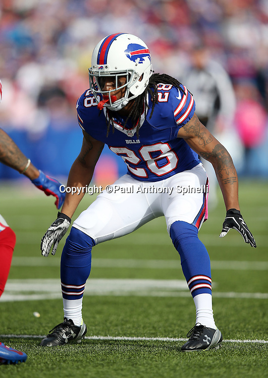 Buffalo Bills cornerback Ronald Darby (28) makes a move in pass coverage during the 2015 NFL week 4 regular season football game against the New York Giants on Sunday, Oct. 4, 2015 in Orchard Park, N.Y. The Giants won the game 24-10. (©Paul Anthony Spinelli)