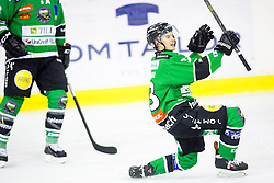 14.11.2014, Hala Tivoli, Ljubljana, SLO, EBEL, HDD Telemach Olimpija Ljubljana vs Dornbirner Eishockey Club, 18. Runde, in picture Jure Sotlar (HDD Telemach Olimpija, #33) celebrates after scoring a goal during the Erste Bank Icehockey League 18. Round between HDD Telemach Olimpija Ljubljana and Dornbirner Eishockey Club at the Hala Tivoli, Ljubljana, Slovenia on 2014/11/14. Photo by Matic Klansek Velej / Sportida