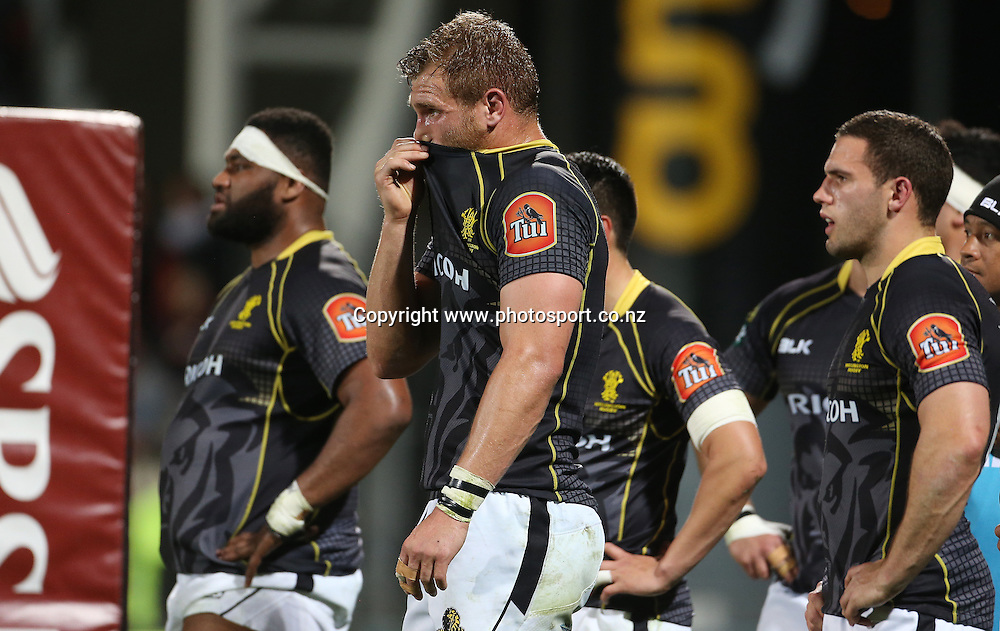 Wellington no.8 Brad Shields stands under the posts as Canterbury convert a try.<br /> ITM Cup match between Canterbury and Wellington, held at AMI Stadium, Christchurch, New Zealand, 12 September 2014. Credit: www.photosport.co.nz