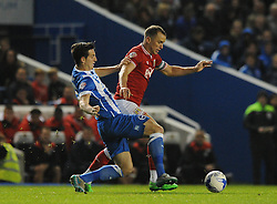 Aaron Wilbraham of Bristol City attempts to break away from Lewis Dunk of Brighton & Hove Albion - Mandatory byline: Dougie Allward/JMP - 07966 386802 - 20/10/2015 - FOOTBALL - American Express Community Stadium - Brighton, England - Brighton v Bristol City - Sky Bet Championship