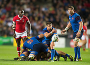 Milton Keynes, Great Britain, Sebastien TILLOUS-BORDE. clears the ball from the breakdown,  during the Pool D Game, France vs Canada.  2015 Rugby World Cup, Venue, StadiumMK, Milton Keynes, ENGLAND.  Thursday  01/10/2015<br /> Mandatory Credit; Peter Spurrier/Intersport-images]