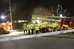 Royston,Hertfordshire Thursday 19th January 2017 A pedestrian has suffered fatal injuries and sadly died after a collision with a fire engine.<br /> Police are investigating the incident which occurred on a roundabout at the junction in York Way and Old North Road, Royston at 8.45pm this evening.<br /> <br /> <br /> Ambulance services also confirmed that another person has been taken to Addenbrooke's Hospital with minor injuries.Circumstances surrounding the collision are still unclear, but police have reported that the fire engine was responding to an emergency call while negotiating the roundabout, before colliding with the pedestrian.<br /> <br /> The fire engine is currently in the road and closures are in place at the roundabout and in Rock Road, with the junction of Old North Road and by the Tesco Superstore.<br /> <br /> Andrew Fowler, from Barrington, a village in Cambridgeshire, told the News: &ldquo;There&rsquo;s a fire engine turned over. And that&rsquo;s on the second roundabout. It&rsquo;s a whole mass of blue flashing lights, including ambulance services and another fire engine.<br /> <br /> &quot;Apparently it&rsquo;s on the far roundabout from the Tesco's as you come off the 505 at the first roundabout. That is one hell of a piece of equipment to go over.&quot;<br /> <br /> Alec Hill, a resident in Lindsay Close, Royston, a couple of hundred yards away from the incident: &ldquo;My daughter and I witnessed the scene. We walked by from Tesco and saw the incident and the controls.<br /> <br /> &ldquo;We were sent away from the police. I asked if it was because of injuries, and he said yes.<br /> <br /> &ldquo;It&rsquo;s pretty obvious that if a fire engine goes off on its side then someone&rsquo;s injured. There must have been around 10 to 15 emergency vehicles. We got that far on our walk and were then sent away.&rdquo;<br /> <br /> An East of England Ambulance Service spokesman said: &ldquo;The East of England Ambulance Service NHS Trust (EEAST) recei