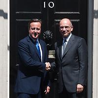 Foto Piero Cruciatti / LaPresse<br /> 17-07-2013 Roma, Gran Bretagna<br /> Politica<br /> Il Presidente del Consiglio Enrico Letta incontra il Primo Ministro inglese David Cameron a Downing Street<br /> Nella foto: Enrico Letta (D) e David Cameron (S)<br /> <br /> Photo Piero Cruciatti / LaPresse<br /> 17-07-2013 London, United Kingdom <br /> Politics<br /> Italy's Prime Minister Enrico Letta meets British Prime Minister David Cameron in London<br /> In the photo: Enrico Letta (R) and David Cameron (L)