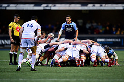Nic Groom of Edinburgh Rugby prepares to put the ball into the scrum as Cardiff Blues and Edinburgh Rugby compete for the ball - Mandatory by-line: Ryan Hiscott/JMP - 05/10/2019 - RUGBY - Cardiff Arms Park - Cardiff, Wales - Cardiff Blues v Edinburgh Rugby - Guinness Pro 14