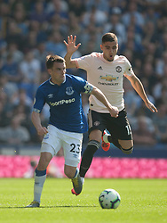 Seamus Coleman of Everton (L) and Andreas Pereira of Manchester United in action - Mandatory by-line: Jack Phillips/JMP - 21/04/2019 - FOOTBALL - Goodison Park - Liverpool, England - Everton v Manchester United - English Premier League