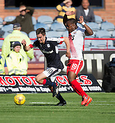 Dundee&rsquo;s Cammy Kerr races away from Kilmarnock&rsquo;s Souleymane Coulibaly - Dundee v Kilmarnock in the Ladbrokes Scottish Premiership at Dens Park, Dundee. Photo: David Young<br /> <br />  - &copy; David Young - www.davidyoungphoto.co.uk - email: davidyoungphoto@gmail.com