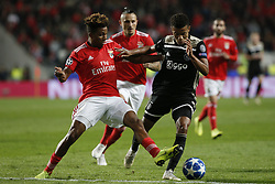 November 7, 2018 - Lisbon, Portugal - Gedson Fernandes of Benfica (L) vies for the ball with David Neres of Ajax (R)  during Champions League 2018/19 match between SL Benfica vs Ajax Amsterdam, in Lisbon, on November 7, 2018. (Credit Image: © Carlos Palma/NurPhoto via ZUMA Press)