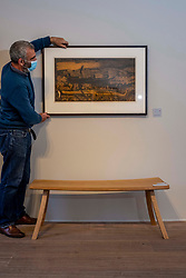Pictured: Guy Peploe takes a break to enjoy Broken Trawler (1987) by Sylvia Wishart<br /><br />The Scottish Gallery on Dundas Street Edinburgh is putting on the Modern Masters Women exibition between 30 July and 29 August 2020.  Strict social distancing rules will apply  but there is plenty space to appreciate the works on display<br /><br />Ger Harley | EEm 28 July 2020