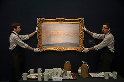 "© Licensed to London News Pictures. 28/01/2016. London, UK.   ""Le Palais Ducal vu de Saint-Georges Majeur"" by Claude Monet (est. £12-18m), on display at Sotheby's preview of its upcoming Impressionist, Modern & Surrealist art sale on 3 February featuring works by some of the most important artists of the 20th century.  The combined total of the evening sale is expected to exceed £100m. Photo credit : Stephen Chung/LNP"