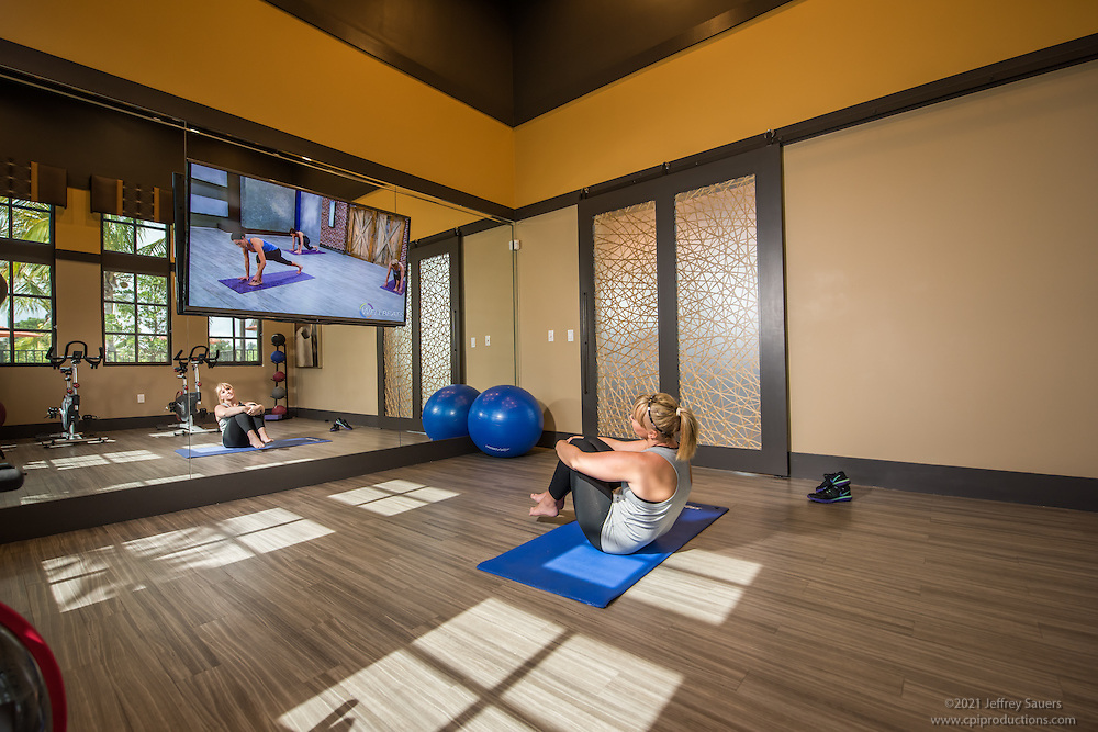 Lifestyle photo of the yoga room at Palm Ranch in Davie Florida by Jeffrey Sauers of Commercial Photographics, Architectural Photo Artistry in Washington DC, Virginia to Florida and PA to New England